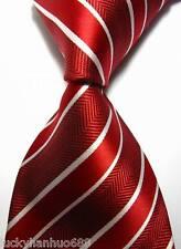 New Classic Stripes Red White JACQUARD WOVEN 100% Silk Men's Tie Necktie