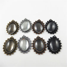 25*18mm Alloy Mixed Oval Cameo Setting Tray With Glass Charms Pendants 4 Sets
