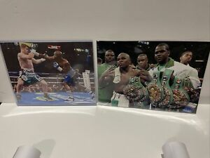 FLOYD MAYWEATHER JR And Canelo Alverez 8X10 PHOTO BOXING PICTURE WITH 6 BELTS