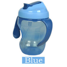 260ml Baby Cup Infant Learn Drinking Straw Handle Bottle Sippy Cup BPA Top Blue