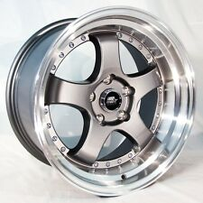 (4) MST MT07 GUNMETAL W MACHINED LIP WHEELS 17x9 +20 5x114.3 Civic 240SX STI EVO