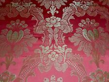 Antique French Floral Damask Silk Brocade Fabric ~Pomegranate Red Icy Soft Green