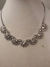 Silver-Tone Frontal Collar Necklace 701 Gn $ 125 Givenchy Clear Crystal Floral