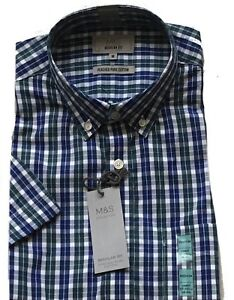 Marks & Spencer 100% Cotton Checked Short Sleeve With Pocket Shirt Medium