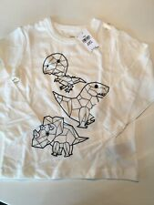 NWT Baby Gap Toddler 3T Dinosaur Long Sleeve T-shirt White Geometric New!
