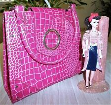 MODAPELLE PINK MOC CROC 1950s style RETRO BAG HANDBAG NEW top handle SMART CHIC