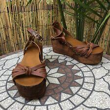 Isabel Marant Etoile Platform Zia Wooden Wedges Size 39 9US Brown Leather READ