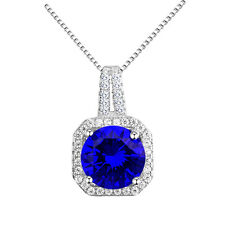 Luxury Silver Dark Royal Blue Zircon Rhinestones Square Pendant Necklace N435