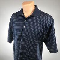 Peter Millar M Polo Mens Shirt Size Medium Striped Short Sleeve Cotton Blue