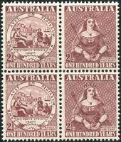 Australia 1950 SG239 2½d First Adhesive Stamp Centenary block MNH