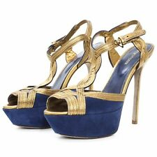 Sergio Rossi - Leather Suede Platform Heels - Gold & Blue - Size 36.5 - Italy
