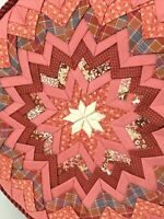 Folded Star Patchwork Round Throw Pillow Mauve Farmhouse Home Decor Quilted