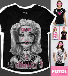 Pistol Boutique Women's Black casual crew neck AIN'T NO BARBIE TATTOOS T-shirt
