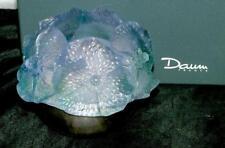 DAUM FRANCE Pate De Verre 'PHOTOPHORE HIBISCUS ARGENT' Fairy Lamp Tea Light MIB