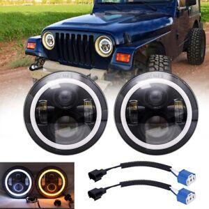 280W Pair 7 INCH Round LED Headlight Fit For Kenworth T2000 1998-2010 Jeep TJ JK