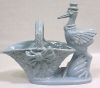 Vtg Haeger Art Pottery Figural Stork and Basket Planter Blue