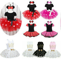 Girls Cartoon Mouse Dress Birthday Party Princess Tutu Skirts Bow Outfit Costume
