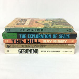 Lot of 5 Vintage Paperback Books Mosquitoes Space The Hill Hiroshima Geronimo