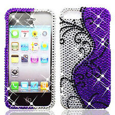 iPhone 5 5S SE Crystal Diamond BLING Hard Case Phone Cover Purple Silver Vines