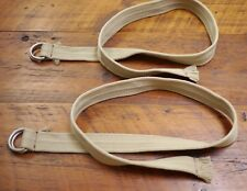 NEW Pair of Military Style Khaki Cotton Webbing Canvas Metal Loops Belts 46""