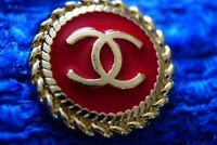 Stamped Chanel button 1  pieces  cc logo 21,5 mm 0,8 inch  ❤❤❤red