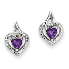 925 Sterling Silver Rhodium Plated Amethyst Diamond Heart Polished Post Earrings