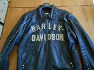 Harley-Davidson 100th Anniversary Black Leather Jacket Mens Sz L