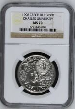 1998 Chez Republic 200K Charles University NGC MS 70 Silver Coin