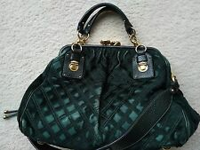 Marc Jacobs green Stam quilted pony calf hair fur leather bag purse, 2 way USED