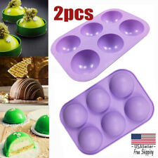 2Pcs 3D 6-Holes Half Ball Silicone Chocolate Mold Sphere Cake Baking Mold