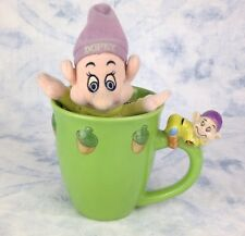 Disney Store Large Green Mug Cup Snow White Dopey Figure 3D With Plush Soft Toy