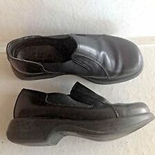 Ladies Black Leather Dansko Loafers Slide On Shoes 39 8-8.5