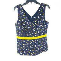 Boden Sinead Top 10 Navy Blue Polka Dot Floral Fitted Sleeveless V Neck New NWT