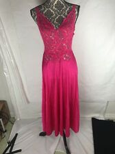 Olga Vintage Long Night Gown Nylon Fuchsia Pink Lace Full Sweep Low Back Size S
