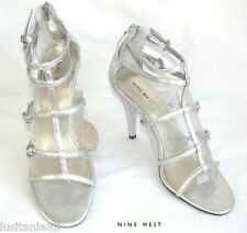NINE WEST - SANDALES TALONS 10 CM SIMILICUIR ARGENT 9M 40 - EXCELLENT ETAT