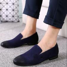Mens Suede Loafer Slippers Plain Wedding Shoes Slip On Casual Retro Flat Fashion