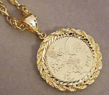 Men's Large Yellow Gold Plated Centenario Coin Charm & 30in Turkish Link Set