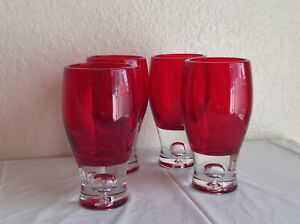Ruby Red Glass Goblet Drinking Glassware with Clear Base and Bubble (Set Of 4)