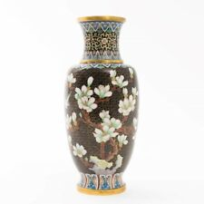 "Antique Chinese Brass and Enamel Cloisonne Vase 9.25"" White Flowers on Black"