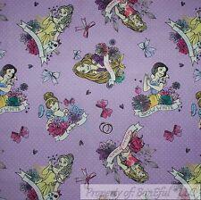 BonEful Fabric Cotton Quilt Purple White Disney Princess Girl Polka Dot 99 SCRAP