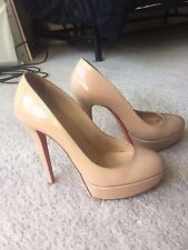"Christian louboutin nude shiny pumps ""Bianca"". 140mm size 7 (37)"