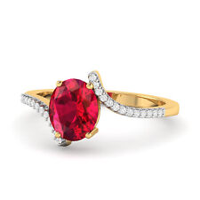Garnet 14 K Yellow Gold Plated Radiant Oval Cut Red Garnet Ring For Women