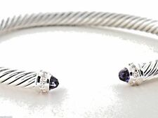 David Yurman Amethyst Diamond Sterling Silver 5mm Cable Classics Bracelet