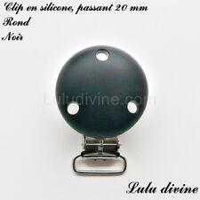 Pince / Clip en silicone, attache tétine, passant de 20 mm, Rond : Noir