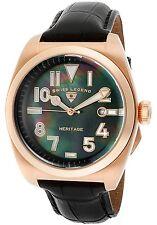 NEW Swiss Legend 20434-RG-01MOP Mens Heritage Black MOP & Leather RoseGold Watch