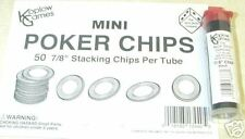 "KOPLOW'S MINI POKER CHIPS! TUBE OF (50) 7/8"" RIDGED PLASTIC BLACK CHIPS!"