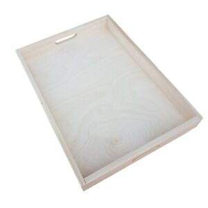 Wooden Serving Tray, Extra Large, Set from 10, 60 cm x 40 cm x 6 cm, - Unpainted