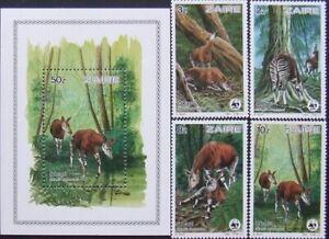 Zaire-Fauna-Okapi-WWF-4St.+1S/Sh.MNH**ZA 016