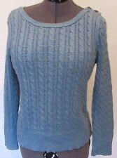 """Eddie Bauer Cable Sweater Blue  Sz. LP Bust 35/37"""" Boat Neck"""