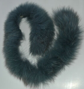 Dyed Grey Blue Real Silver Fox Fur Collar for craft, hood, coat, headband, etc